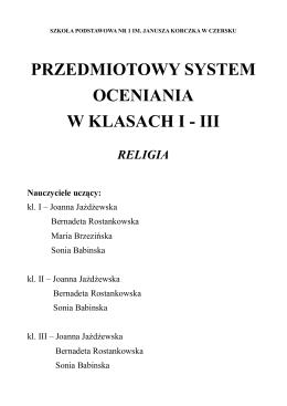 PRZEDMIOTOWY SYSTEM OCENIANIA W KLASACH I - III