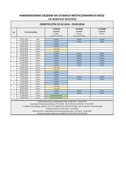 harmonogram zjazdów 2015