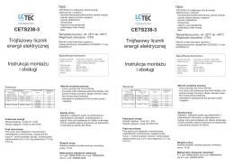 CETS238-3 CETS238-3 Trójfazowy licznik energii elektrycznej