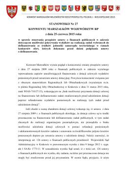 Stanowisko Nr 27 - Konwent Marszałków Województw RP