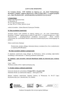 Fundusze Europejskie dla rozwoju regionu łódzkiego ZAPYTANIE
