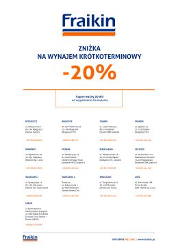 zniżka na wynajem krótkoterminowy -20%
