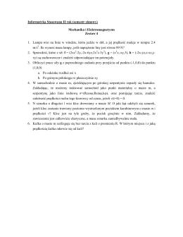 Informatyka Stosowana II rok (semestr zimowy) Mechanika i