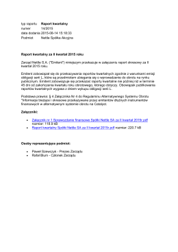 Raport Kwartalny II kwartał 2015
