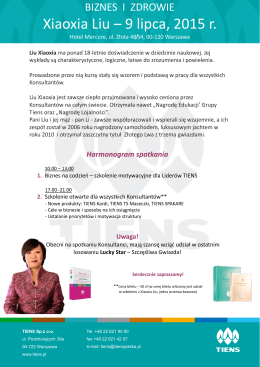 Xiaoxia Liu – 9 lipca 2015 r Harmonogram spotkania