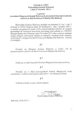 Uchwała Wojewódzkiej Komisji Wyborczej z dnia 23 kwietnia 2015 r