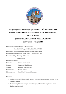 Program Rajdu - PTTK o/Lublin
