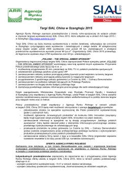 Informacja nt. Targów SIAL China 2015