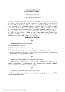 UCHWAŁA NR XV/397/15 RADY MIASTA GDAŃSKA
