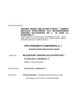 OPIS PRZEDMIOTU ZAMÓWIENIA cz. 1