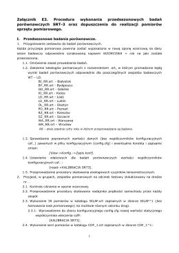 Załącznik E3 Procedura badań porównawczych SRT-3