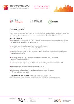 pakiet wystawcy - Międzynarodowy kongres Smart Metropolia