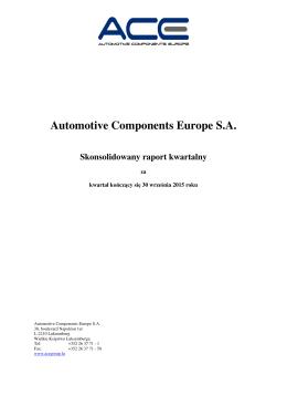 Skonsolidowany raport kwartalny za III kw. 2015 roku