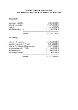 sprawozdanie finansowe parafialnego zespołu caritas za rok 2014