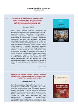 WYBRANE NOWOŚCI W ZBIORACH BPP (GRUDZIEŃ 2015) 1