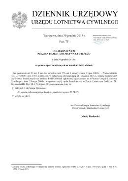 Ogłoszenie Nr 30 z dnia 30 grudnia 2015 r.