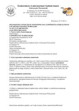 ogłoszenie ver JCh ZMIANA - Środowiskowe Laboratorium Ciężkich