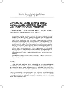 Antybiotykooporność bakterii - Zeszyty Problemowe Postępów Nauk