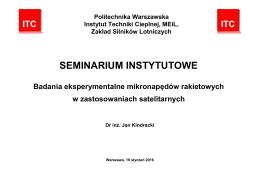 seminarium instytutowe - Instytut Techniki Cieplnej
