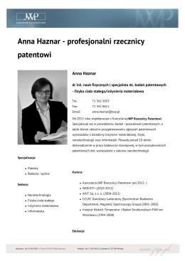 Anna Haznar - profesjonalni rzecznicy patentowi
