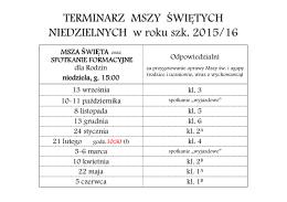 TERMINARZ MSZY ŚWIĘTYCH NIEDZIELNYCH w roku szk. 2015/16