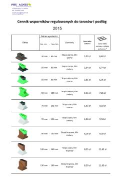 Cennik wsporników wg rozmiarów PHU Agnes 2015.cdr