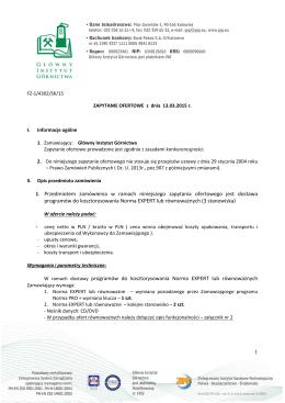 Zapytanie ofertowe - Główny Instytut Górnictwa