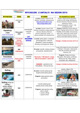 WYCIECZKI Z ANTALYI NA SEZON 2015 Kapadocja 2 dni
