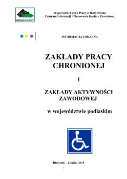 zakłady pracy chronionej - Wojewódzki Urząd Pracy w Białymstoku