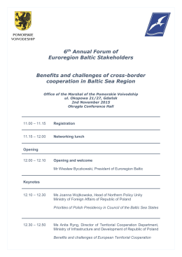 6th Annual Forum of Euroregion Baltic Stakeholders Benefits and