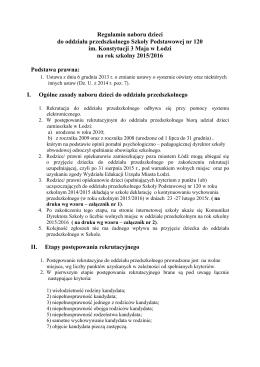 Regulamin rekrutacji do oddziału przedszkolnego na rok 2015/2016