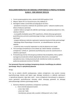 regulamin rekrutacji do oddziału sportowego o profilu pływanie
