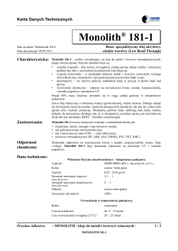 Monolith® 181-1 - PROXIMA ADHESIVES