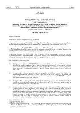 DECYZJA WYKONAWCZA KOMISJI (UE) 2015/ 1432