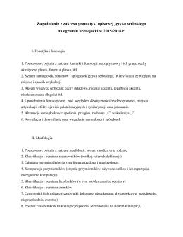 Zagadnienia z zakresu gramatyki opisowej języka serbskiego