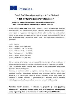 ulotka informacyjna - Zespół Szkół Ponadgimnazjalnych nr 3 w