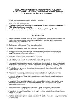 regulamin wypożyczania i korzystania z tabletów w gimnazjum nr 4