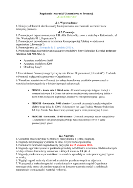 Regulamin i warunki Uczestnictwa w Promocji
