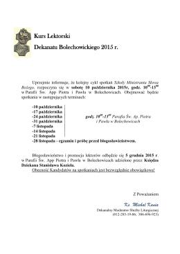 Kurs Lektorski Dekanatu Bolechowickiego 2015 r.