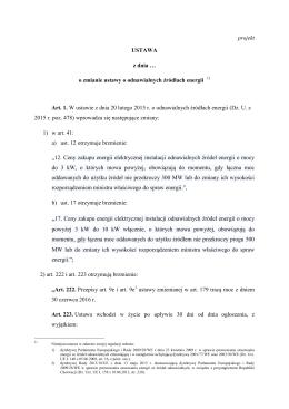 Poselski projekt nowelizacji ustawy o OZE autorstwa PiS