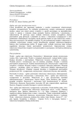 Chemia Nieorganiczna – wykład dr hab. inż. Janusz Zachara, prof