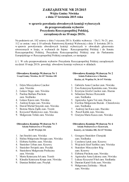 ZARZĄDZENIE NR 25/2015 Wójta Gminy Niwiska z dnia 17 kwietnia