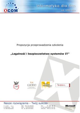 """Propozycja przeprowadzenia szkolenia """"Legalność i"""