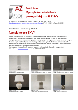 Lampki nocne ENVY A-Z Decor Dystrybutor oświetlenia