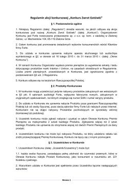 """Regulamin akcji konkursowej """"Konkurs Zwrot Gotówki"""""""