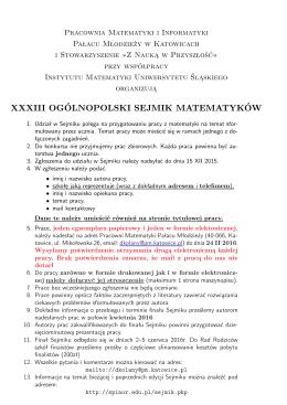 regulamin - Pracownia Matematyki Pałacu Młodzieży w katowicach