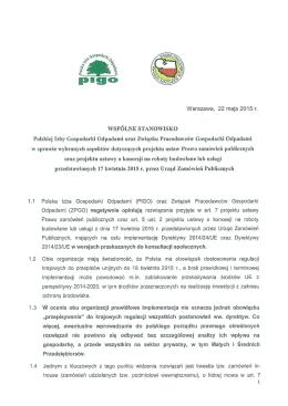 WSPÓLNE STANOWISKO Polskiej Izby Gospodarki Odpadami