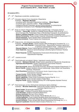 Program Forum Inwestorów i Eksporterów