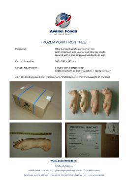 frozen pork front feet