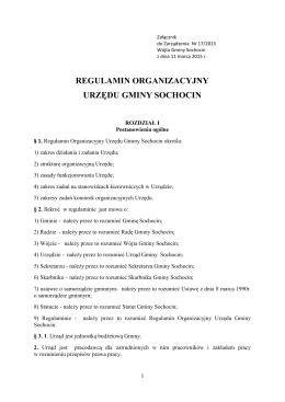 regulamin organizacyjny urzędu gminy sochocin - BiP